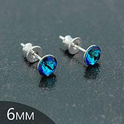 [Bleu Bermude - 6mm] Boucles d'Oreilles en Argent et Cristal