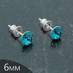 Clous d'Oreilles en Cristal et Argent [Turquoise - 6mm] Boucles d'Oreilles en Argent et Cristal