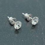 [Crystal White - 6mm] Boucles d'Oreilles en Argent et Cristal