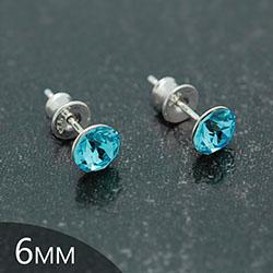[Aquamarine - 6mm] Boucles d'Oreilles en Argent et Cristal