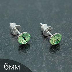 [Vert Péridot - 6mm] Boucles d'Oreilles en Argent et Cristal