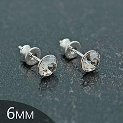 [Silver Shade - 6mm] Boucles d'Oreilles en Argent et Cristal