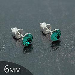 [Emerald - 6mm] Boucles d'Oreilles en Argent et Cristal
