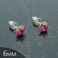 Clous d'Oreilles en Cristal et Argent [Lilac Shadow - 6mm] Boucles d'Oreilles en Argent et Cristal