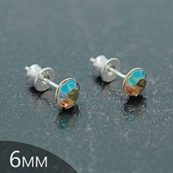 [Iridescent Green - 6mm] Boucles d'Oreilles en Argent et Cristal