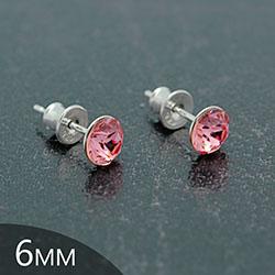 [Light Rose - 6mm] Boucles d'Oreilles en Argent et Cristal
