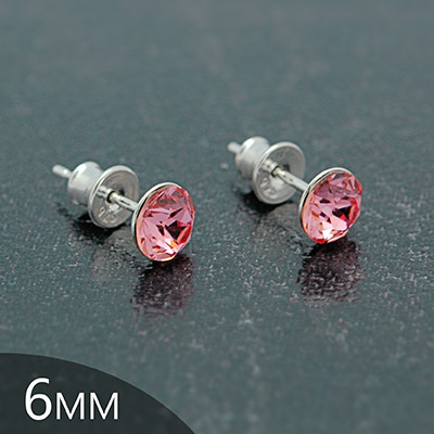 Clous d'Oreilles en Cristal et Argent [Light Rose - 6mm] Boucles d'Oreilles en Argent et Cristal