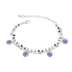 Bracelet Breloques Plaqué Or Blanc et Cristal Violet