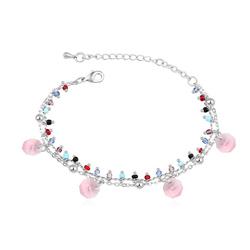 Bracelet Breloques Plaqué Or Blanc et Cristal Rose