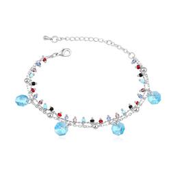 Bracelet Breloques Plaqué Or Blanc et Cristal Bleu