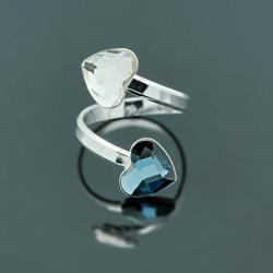 Bague 2 Coeurs en Argent et Cristal Denim Blue / Blanc