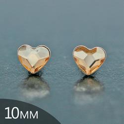 Clous d'Oreilles en Cristal et Argent [Champagne - 10mm] Boucles d'Oreilles Coeur en Argent et Cristal