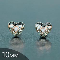 [Rose Patina - 10mm] Boucles d'Oreilles Coeur en Argent et Cristal