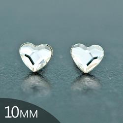 [Blanc - 10mm] Boucles d'Oreilles Coeur en Argent et Cristal