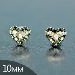 Clous d'Oreilles en Cristal et Argent [Gold Patina - 10mm] Boucles d'Oreilles Coeur en Argent et Cristal