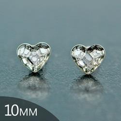Clous d'Oreilles en Cristal et Argent [Silver Patina - 10mm] Boucles d'Oreilles Coeur en Argent et Cristal