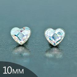 Clous d'Oreilles en Cristal et Argent [White Patina - 10mm] Boucles d'Oreilles Coeur en Argent et Cristal