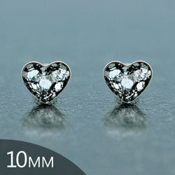 [Black Patina - 10mm] Boucles d'Oreilles Coeur en Argent et Cristal