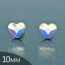 Clous d'Oreilles en Cristal et Argent [Aurora Borealis - 10mm] Boucles d'Oreilles Coeur en Argent et Cristal