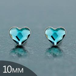 [Denim Blue - 10mm] Boucles d'Oreilles Coeur en Argent et Cristal