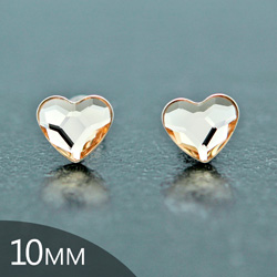 [Light Silk - 10mm] Boucles d'Oreilles Coeur en Argent et Cristal