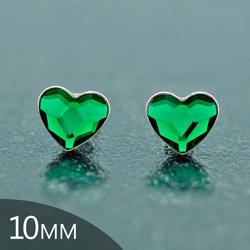 [Dark Moss Green - 10mm] Boucles d'Oreilles Coeur en Argent et Cristal