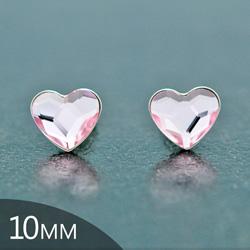 Clous d'Oreilles en Cristal et Argent [Rosaline - 10mm] Boucles d'Oreilles Coeur en Argent et Cristal