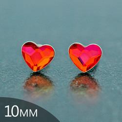 [Astral Pink - 10mm] Boucles d'Oreilles Coeur en Argent et Cristal
