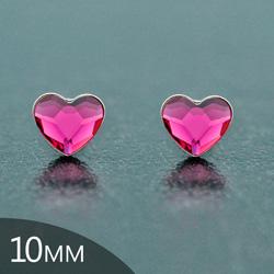Clous d'Oreilles en Cristal et Argent [Fuchsia - 10mm] Boucles d'Oreilles Coeur en Argent et Cristal