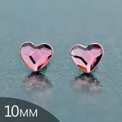 [Antique Pink - 10mm] Boucles d'Oreilles Coeur en Argent et Cristal