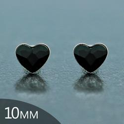 [Jet - 10mm] Boucles d'Oreilles Coeur en Argent et Cristal