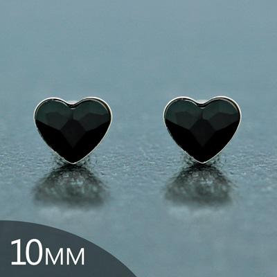 Clous d'Oreilles en Cristal et Argent [Jet - 10mm] Boucles d'Oreilles Coeur en Argent et Cristal