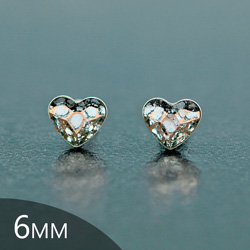 [Rose Patina - 6mm] Boucles d'Oreilles Coeur en Argent et Cristal