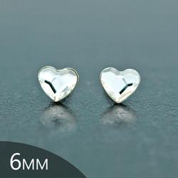 [Blanc - 6mm] Boucles d'Oreilles Coeur en Argent et Cristal
