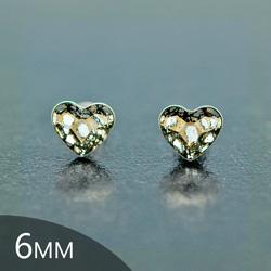 [Gold Patina - 6mm] Boucl-es d'Oreilles Coeur en Argent et Cristal