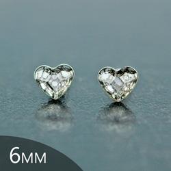 Clous d'Oreilles en Cristal et Argent [Silver Patina - 6mm] Boucles d'Oreilles Coeur en Argent et Cristal
