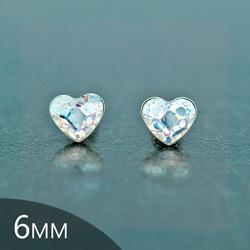 Clous d'Oreilles en Cristal et Argent [White Patina - 6mm] Boucles d'Oreilles Coeur en Argent et Cristal