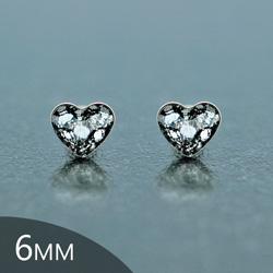 [Black Patina - 6mm] Boucles d'Oreilles Coeur en Argent et Cristal