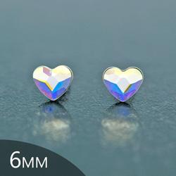 [Aurora Borealis - 6mm] Boucles d'Oreilles Coeur en Argent et Cristal