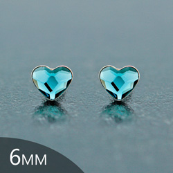 [Denim Blue - 6mm] Boucles d'Oreilles Coeur en Argent et Cristal