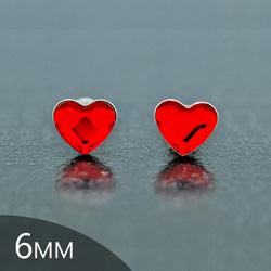 Clous d'Oreilles en Cristal et Argent [Light Siam - 6mm] Boucles d'Oreilles Coeur en Argent et Cristal