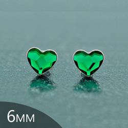 [Dark Moss Green - 6mm] Boucles d'Oreilles Coeur en Argent et Cristal