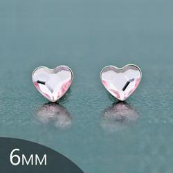 Clous d'Oreilles en Cristal et Argent [Rosaline - 6mm] Boucles d'Oreilles Coeur en Argent et Cristal