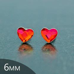 Clous d'Oreilles en Cristal et Argent [Astral Pink - 6mm] Boucles d'Oreilles Coeur en Argent et Cristal