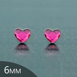 [Fuchsia - 6mm] Boucles d'Oreilles Coeur en Argent et Cristal