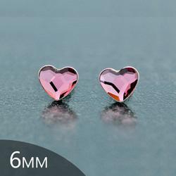 [Antique Pink - 6mm] Boucles d'Oreilles Coeur en Argent et Cristal