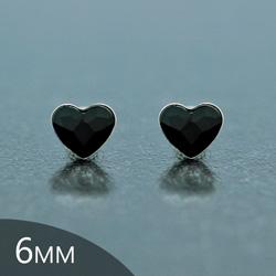 [Jet- 6mm] Boucles d'Oreilles Coeur en Argent et Cristal