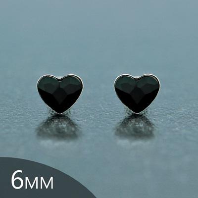 Clous d'Oreilles en Cristal et Argent [Jet- 6mm] Boucles d'Oreilles Coeur en Argent et Cristal