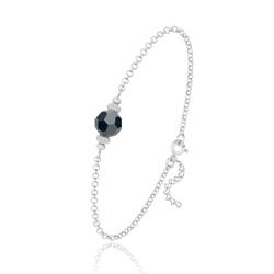 [Jet Hematite] Bracelet en Argent et Perle de Cristal 8MM