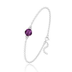 [Amethyst] Bracelet en Argent et Perle de Cristal 8MM